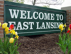 Welcome to East Lansing sign